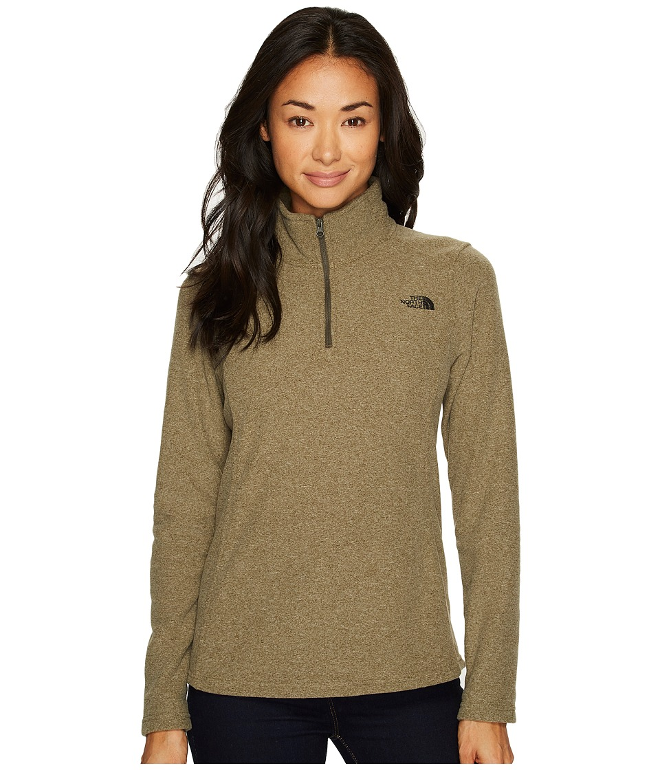 The North Face Glacier 1/4 Zip Fleece Top (New Taupe Green Heather) Women