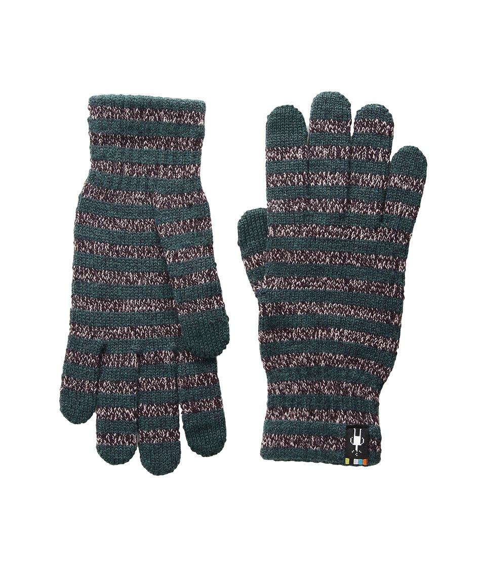 Smartwool Striped Liner Glove (Bordeaux Heather) Extreme Cold Weather Gloves