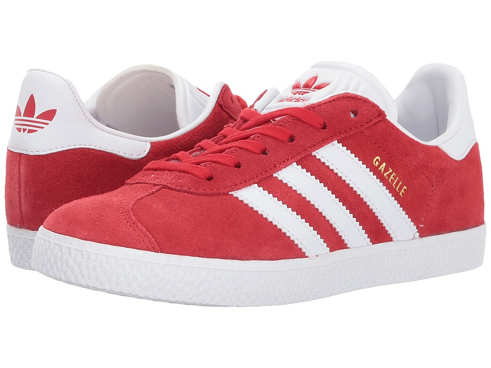 adidas Originals Kids Gazelle (Big Kid) (Scarlet/White/Gold) Kids Shoes