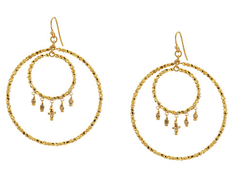 Chan Luu Crystal Double Hoop Earrings - Gold