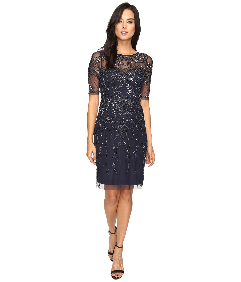 Adrianna Papell 3/4 Sleeve Fully Beaded Cocktail Dress (Navy) Women