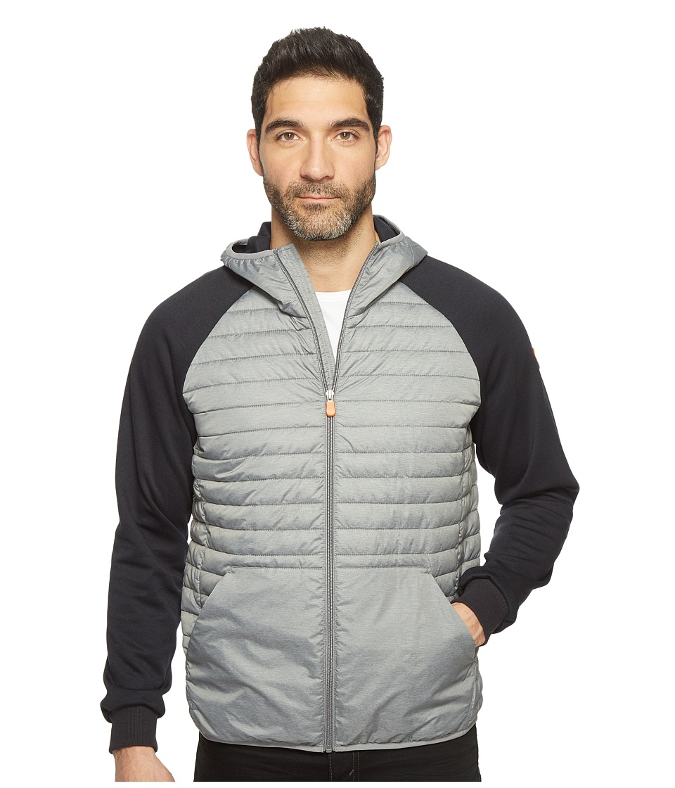 Save the Duck - Full Zip Knit Nylon Hoodie (Dark Grey) Mens Coat