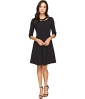 Donna Morgan - Pebble Crepe Shift Dress with Neck Lacing