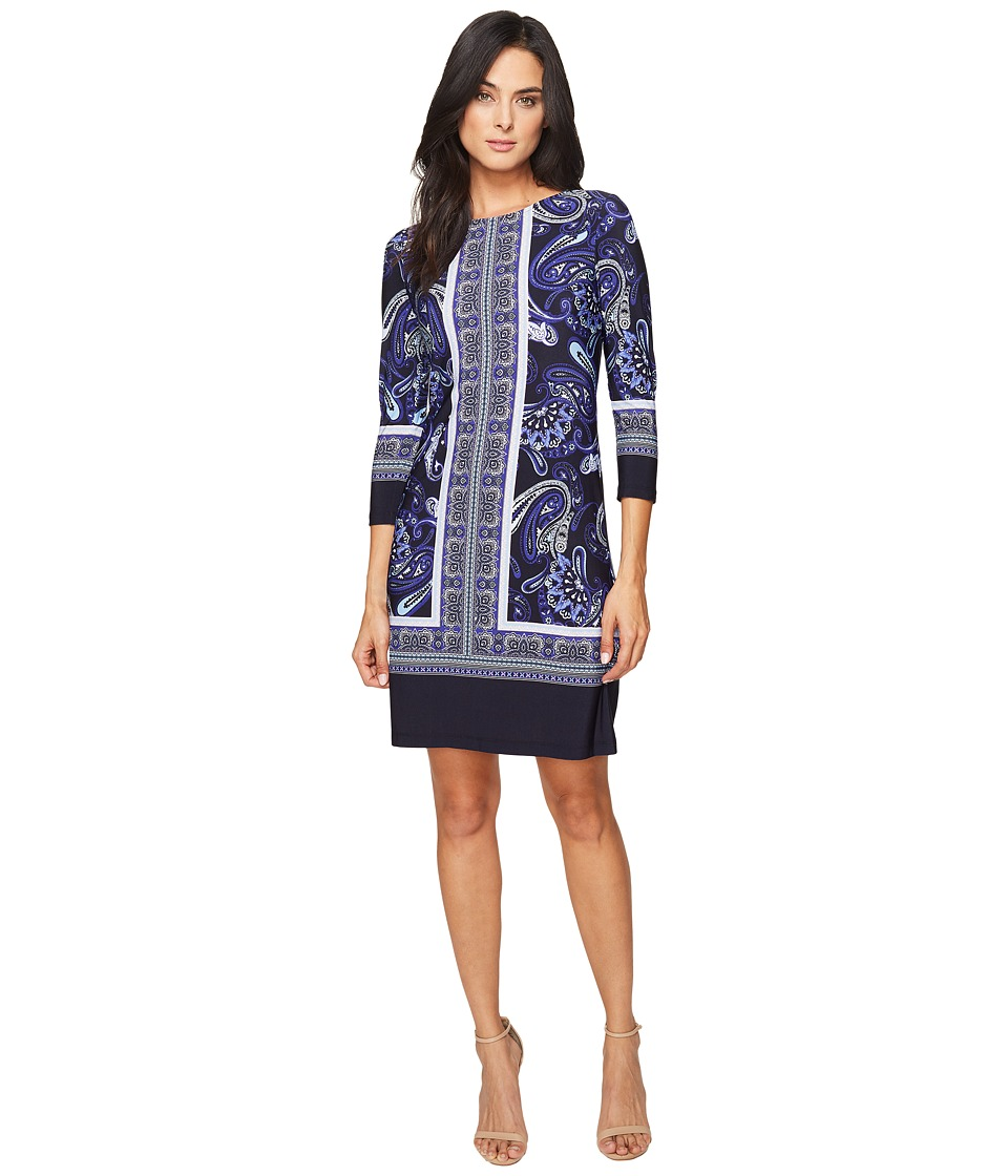 Donna Morgan 3/4 Sleeve Shift Dress (Marine Navy/Workwear Blue Multi) Women