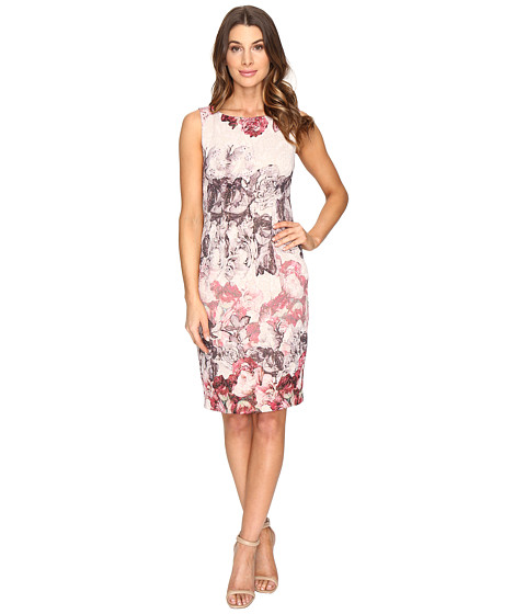 Adrianna Papell Romantic Rose Border Print Sleeveless Sheath Dress - Shell Multi