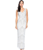 Adrianna Papell - Deep V-Neck Fully Beaded Column Gown