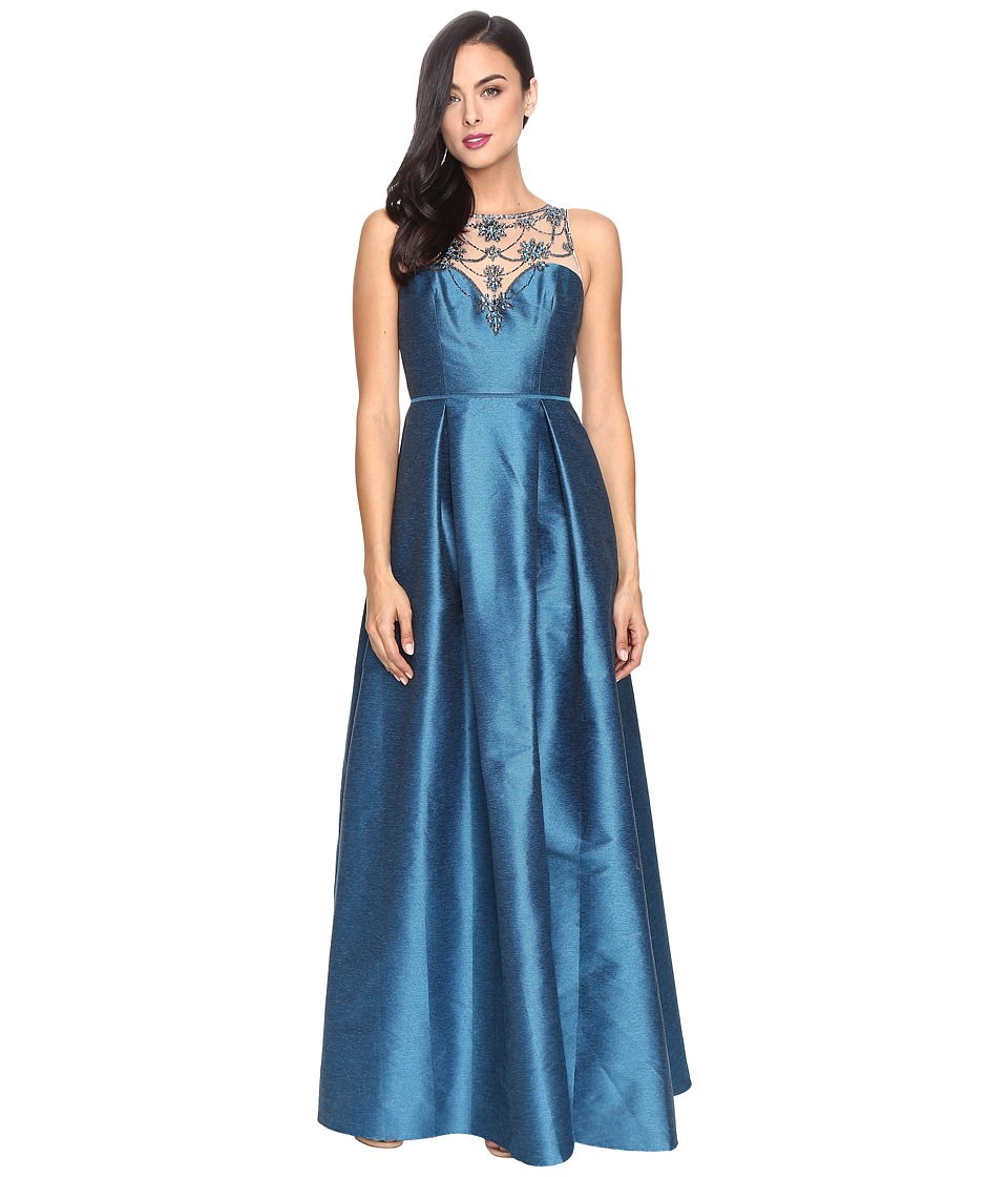 Adrianna Papell Casablanca Halter Beaded Bodice Ball Gown with Front Slit (Teal Crush) Women