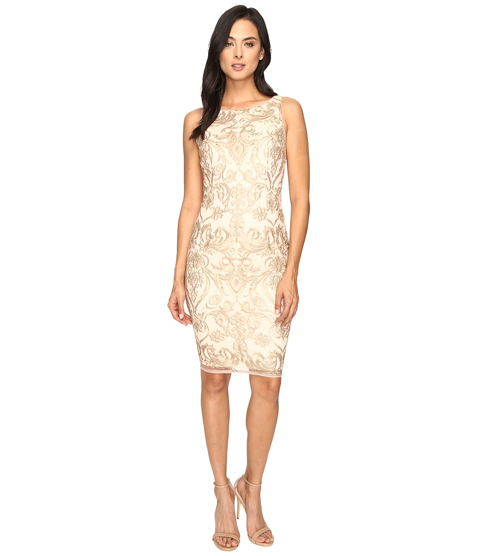 Adrianna Papell Basic Sleeveless Sheath Dress in Fleur Embroidery (Rose Gold/Nude) Women