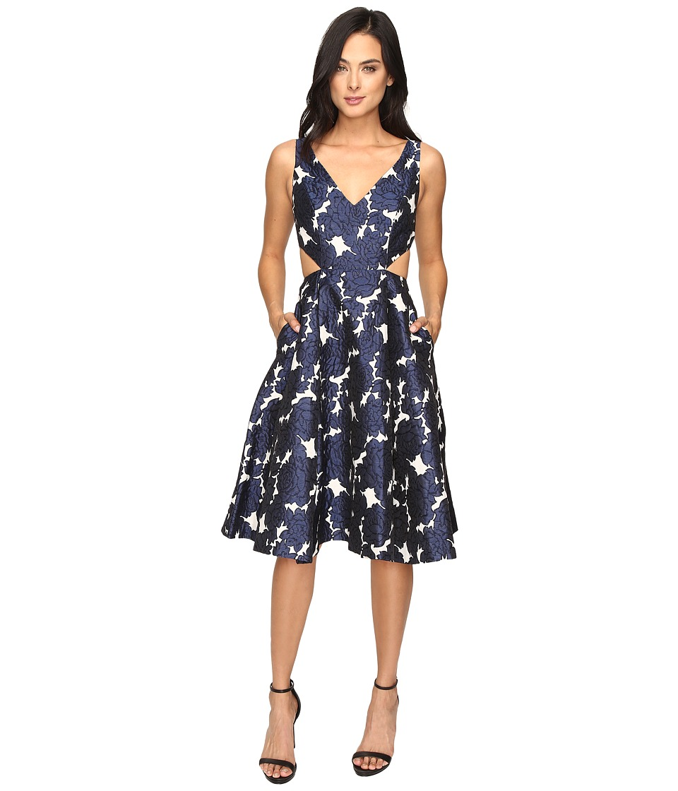 Adrianna Papell - Jacquard Sleeveless Deep V-Neck Ball Skirt Dress