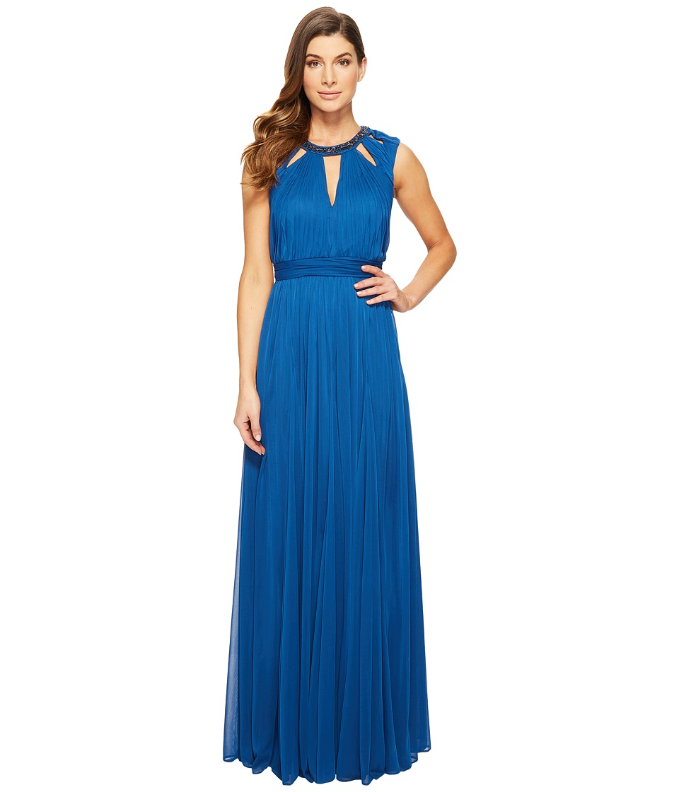 Adrianna Papell - Shirred Stretch Tulle Dress with Beaded Necklace Bodice Cut Outs