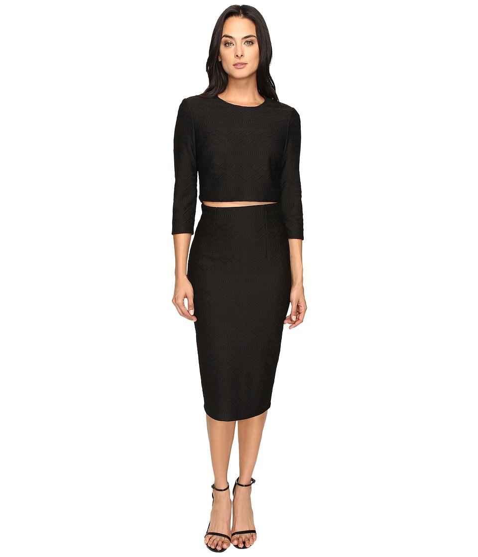 Donna Morgan Knit Jacquard Two-Piece (Black) Women