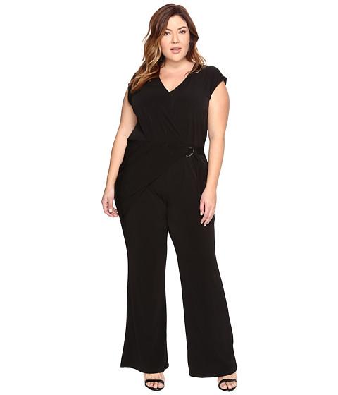 MICHAEL Michael Kors Plus Size Wrap Front Jumpsuit - Black