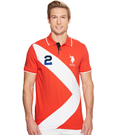 U.S. POLO ASSN. - Short Sleeve Diagonal Stripe Slim Fit Pique Polo Shirt