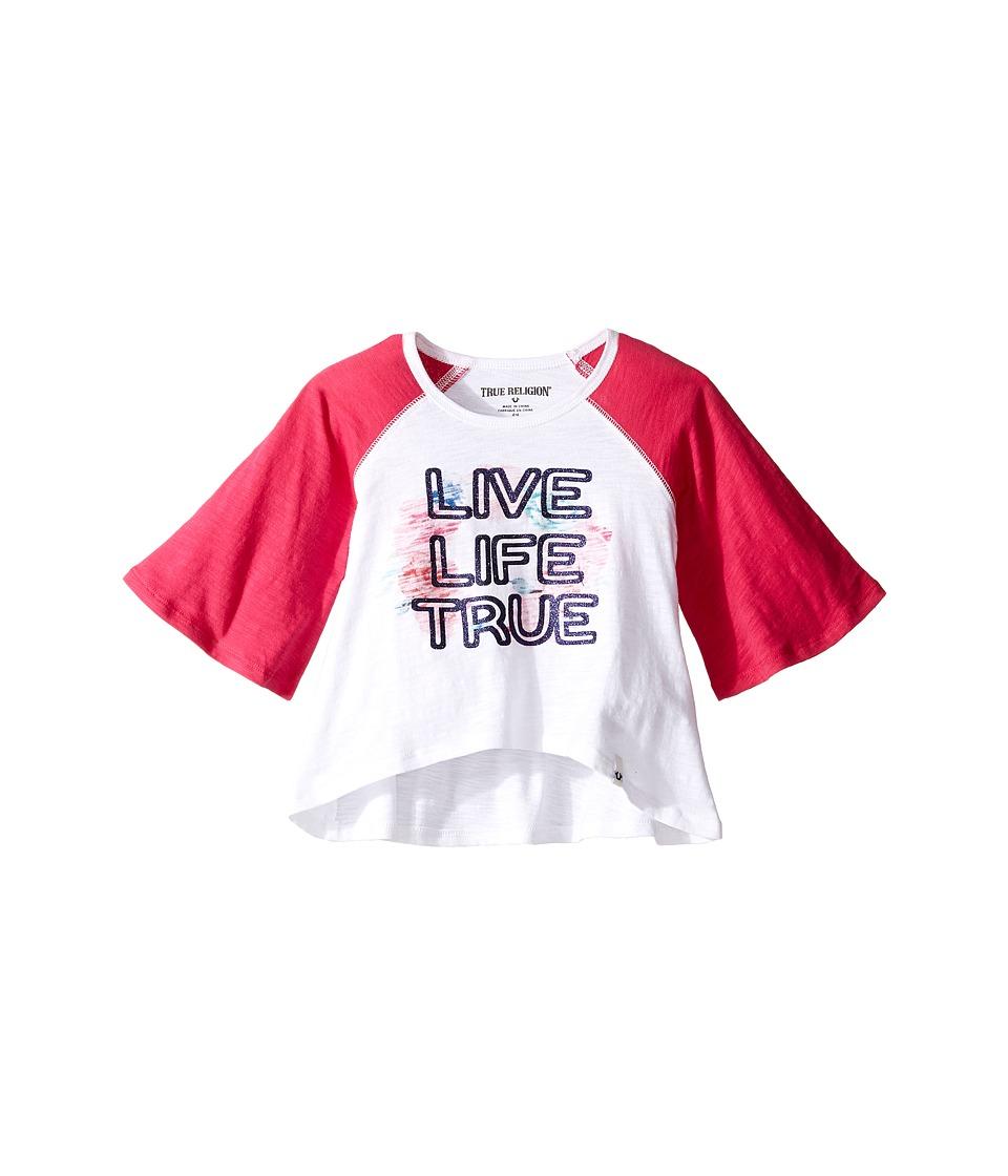 True Religion Kids Drape Baseball Tee (Toddler/Little Kids) (White) Girl