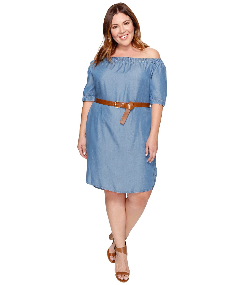MICHAEL Michael Kors Plus Size Denim Off Shoulder Sleeveless Dress (Light Cadet Wash) Women