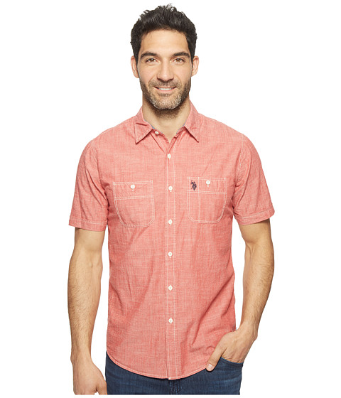 U s polo assn solid short sleeve slim fit two pocket for Two pocket polo shirt