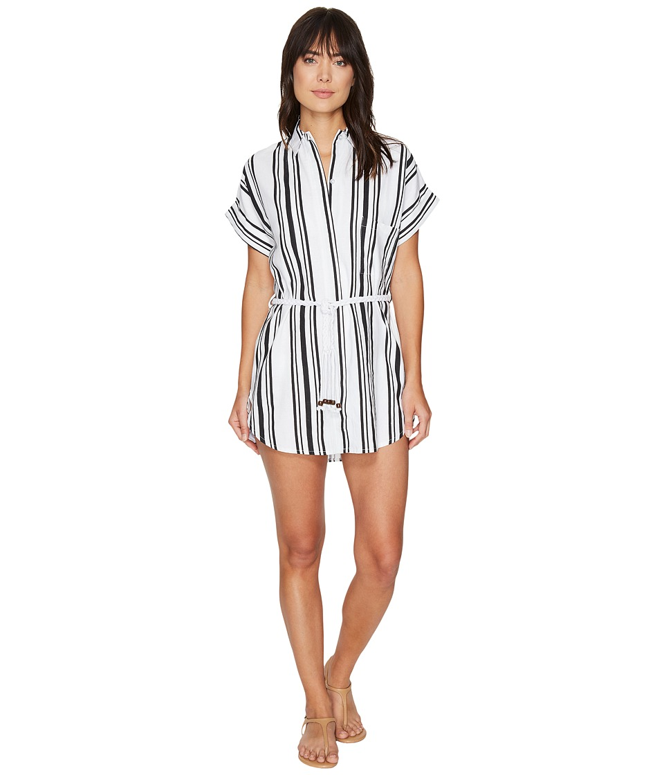 Plush Soleil Striped Linen Beach Dress (Black/White) Women