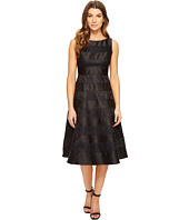 Adrianna Papell - Striped Lace Mikado Combo Fit and Flare Dress