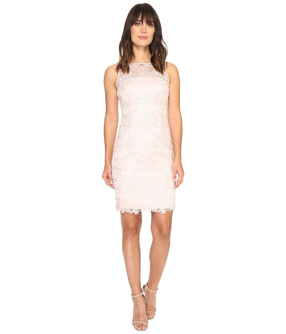 Adrianna Papell - Sleeveless Sequin Guipure Lace Sheath Dress