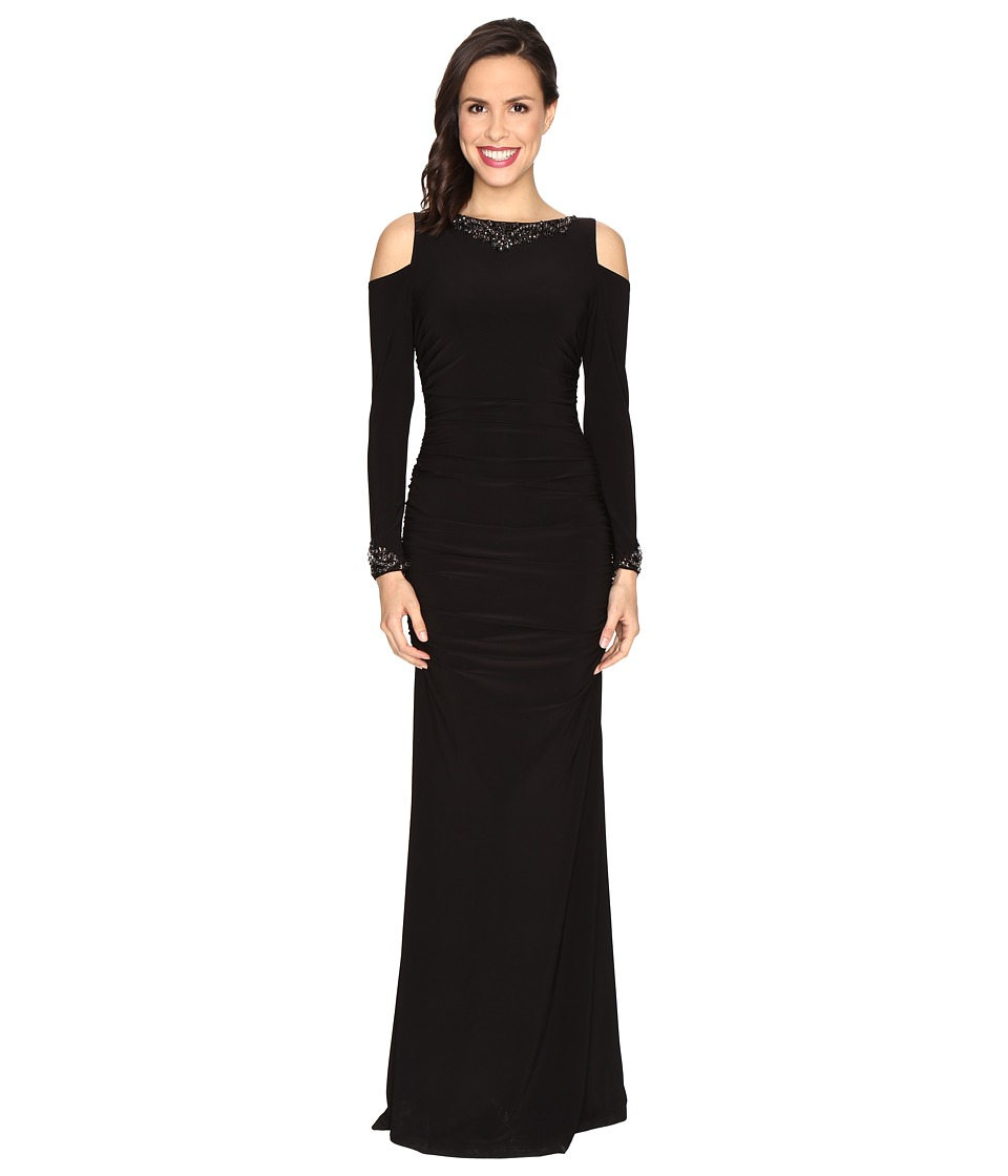 Adrianna Papell Long Sleeve Cold Shoulder Rouched Modified Mermaid Gown (Black) Women