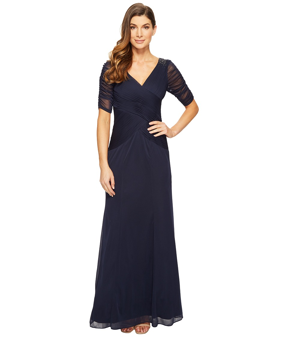 Image of Adrianna Papell - 3/4 Length Sleeve Rouched Stretch Tulle Dress with Beading (Ink) Women's Dress