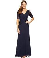 Adrianna Papell - 3/4 Length Sleeve Rouched Stretch Tulle Dress with Beading