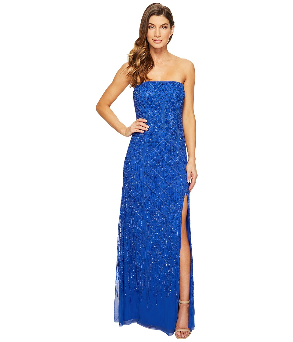 Adrianna Papell Strapless Beaded Gown with Modified Mermaid Skirt and High Slit (Royal) Women