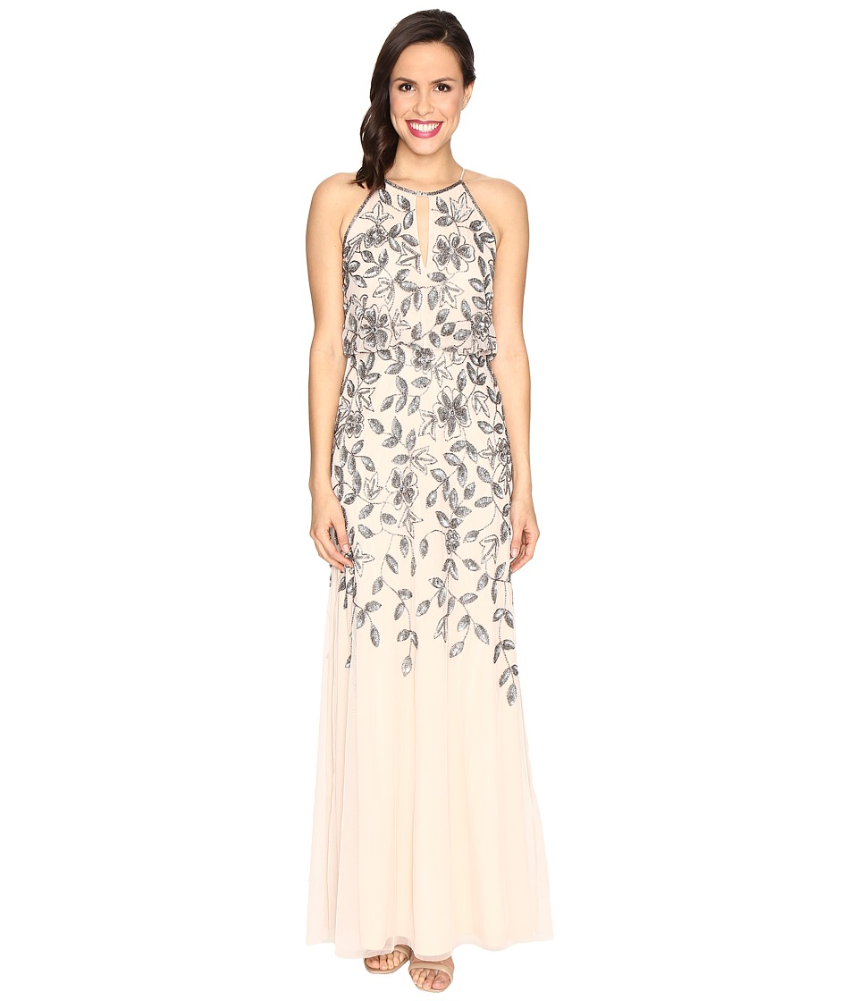 Adrianna Papell Beaded Gown with Plunging Neckline (Taupe/Pink) Women
