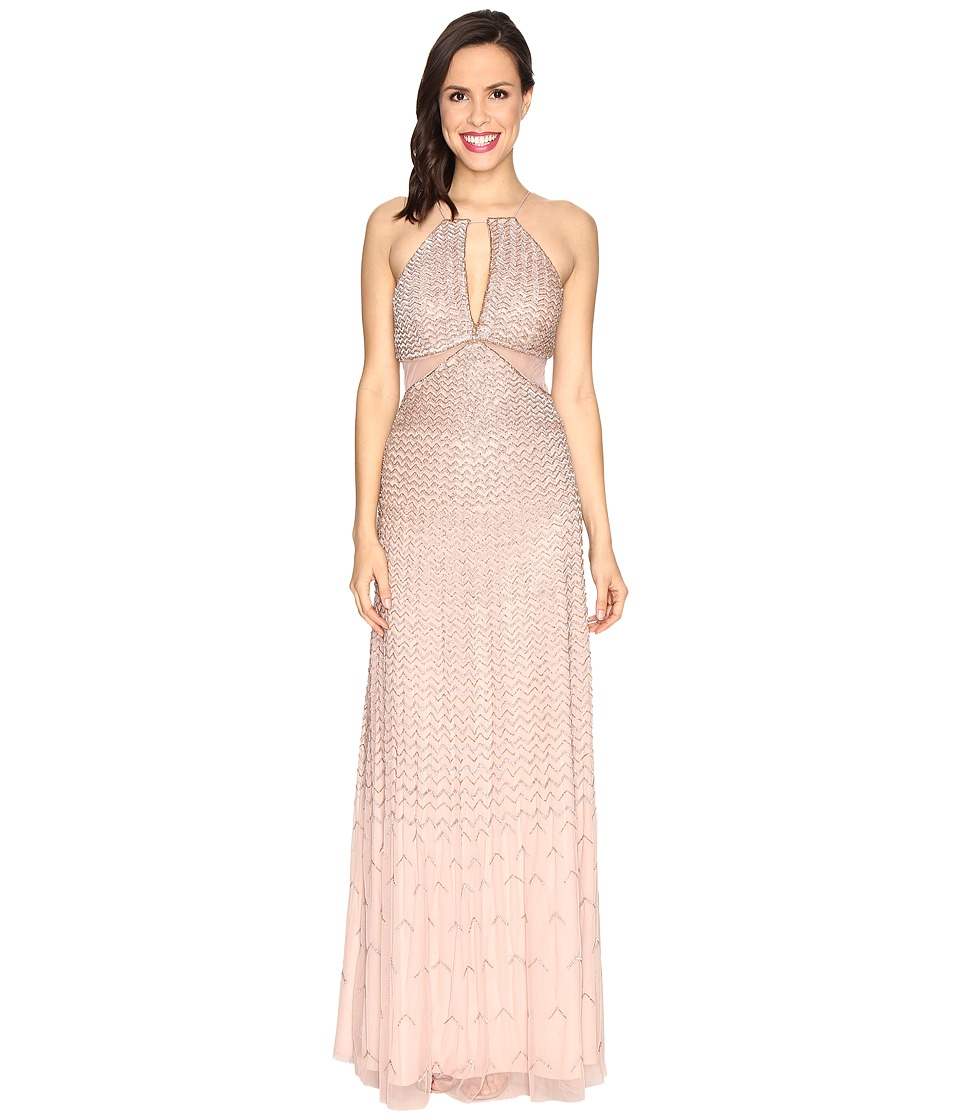 Adrianna Papell - Strappy Halter Fully Beaded Gown with Side Mesh Cut Outs and CF Keyhole