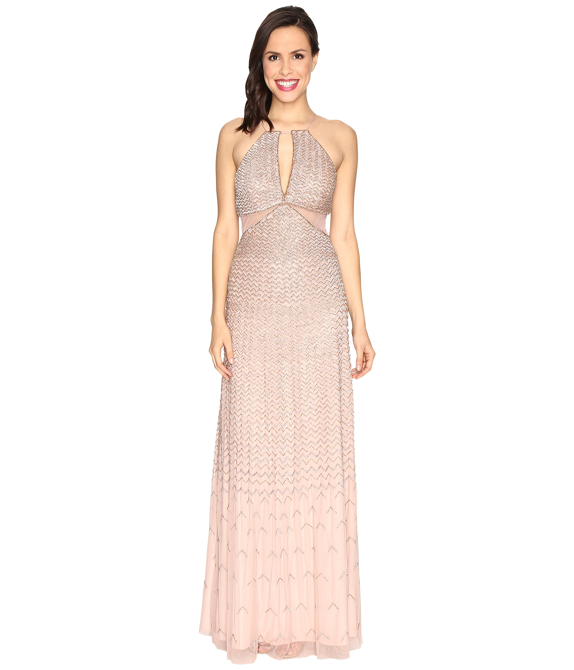 Adrianna Papell Strappy Halter Fully Beaded Gown with Side Mesh Cut Outs and CF Keyhole