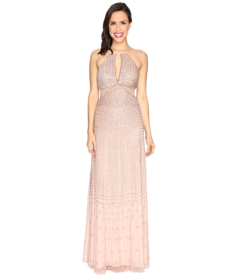 Adrianna Papell Strappy Halter Fully Beaded Gown with Side Mesh Cut Outs and CF Keyhole - Rose Gold