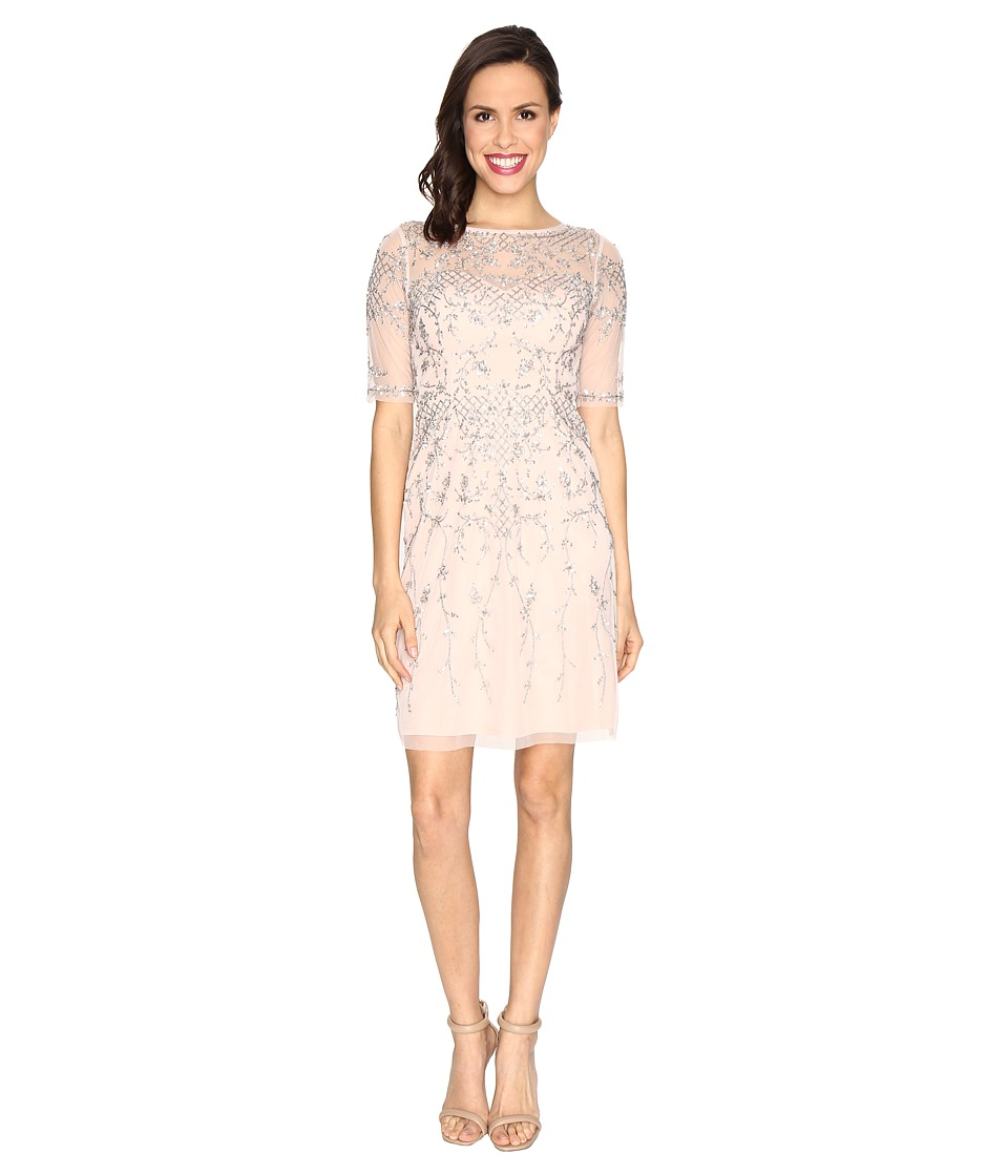 Image of Adrianna Papell - 3/4 Sleeve Fully Beaded Cocktail Dress (Shell) Women's Dress