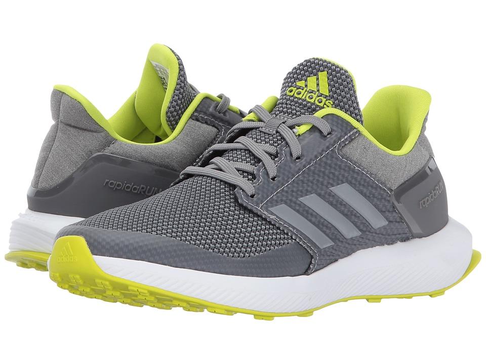 adidas Kids RapidaRun K (Little Kid/Big Kid) (Grey Three/Grey Four/Semi Solar Yellow) Boys Shoes