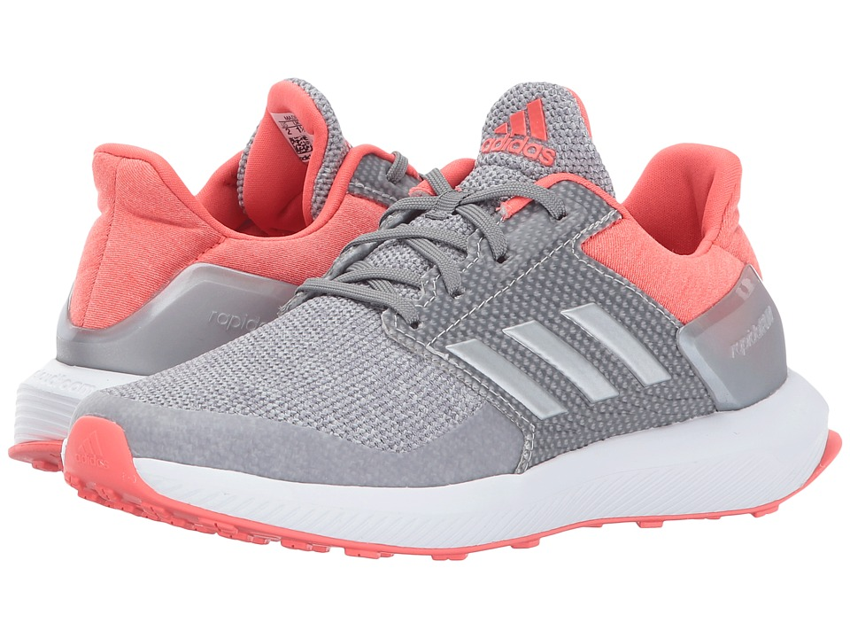 adidas Kids RapidaRun K (Little Kid/Big Kid) (Grey Two/Silver Metallic/Easy Coral) Girls Shoes