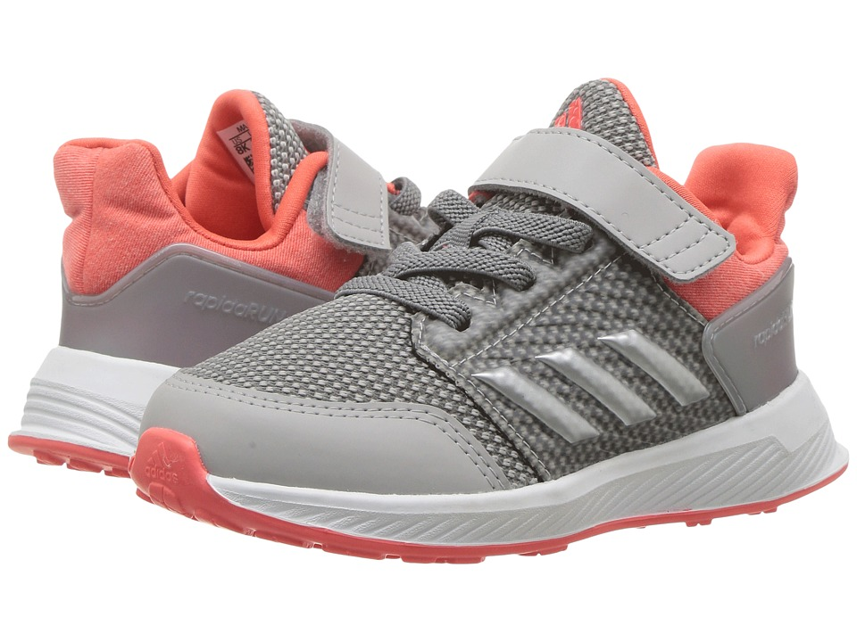 adidas Kids RapidaRun EL I (Toddler) (Grey Two/Silver Metallic/Easy Coral) Girls Shoes