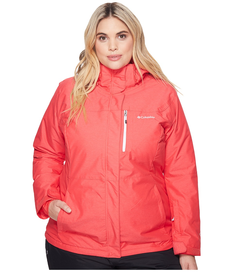 Columbia Plus Size Alpine Actiontm Omni-Heattm Jacket (Red Camellia Cross Dye/White) Women