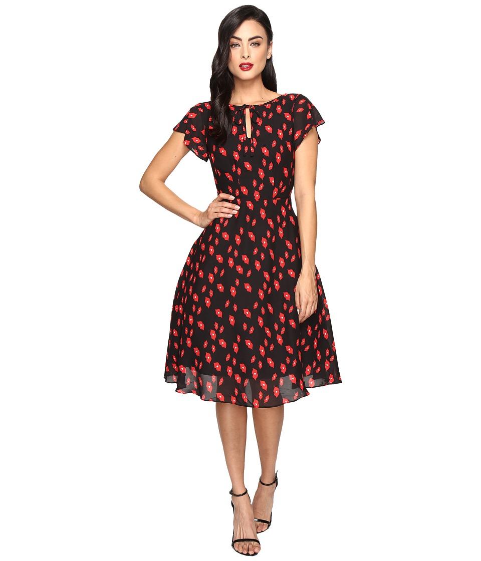 Unique Vintage Cap Sleeve Formosa Swing Dress (Black/Red Lip Print) Women