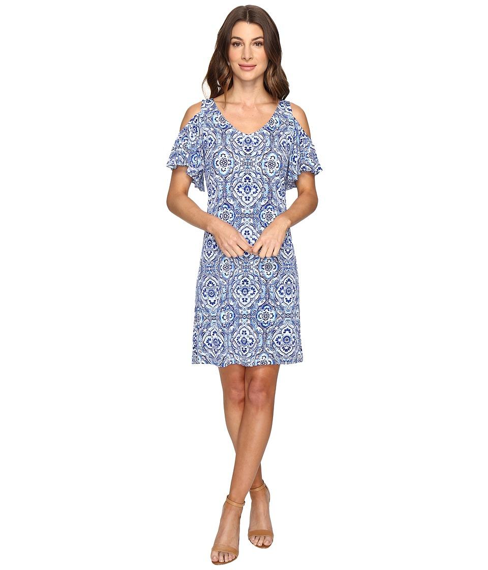Christin Michaels Born Cold Shoulder Shift Dress (Navy/Ivory) Women
