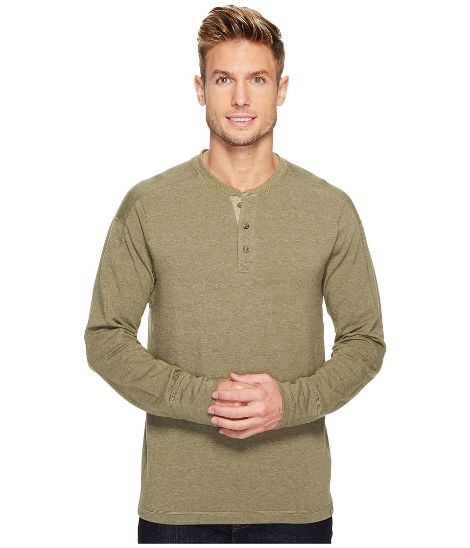 The North Face Long Sleeve Terry Henley (Burnt Olive Green) Men