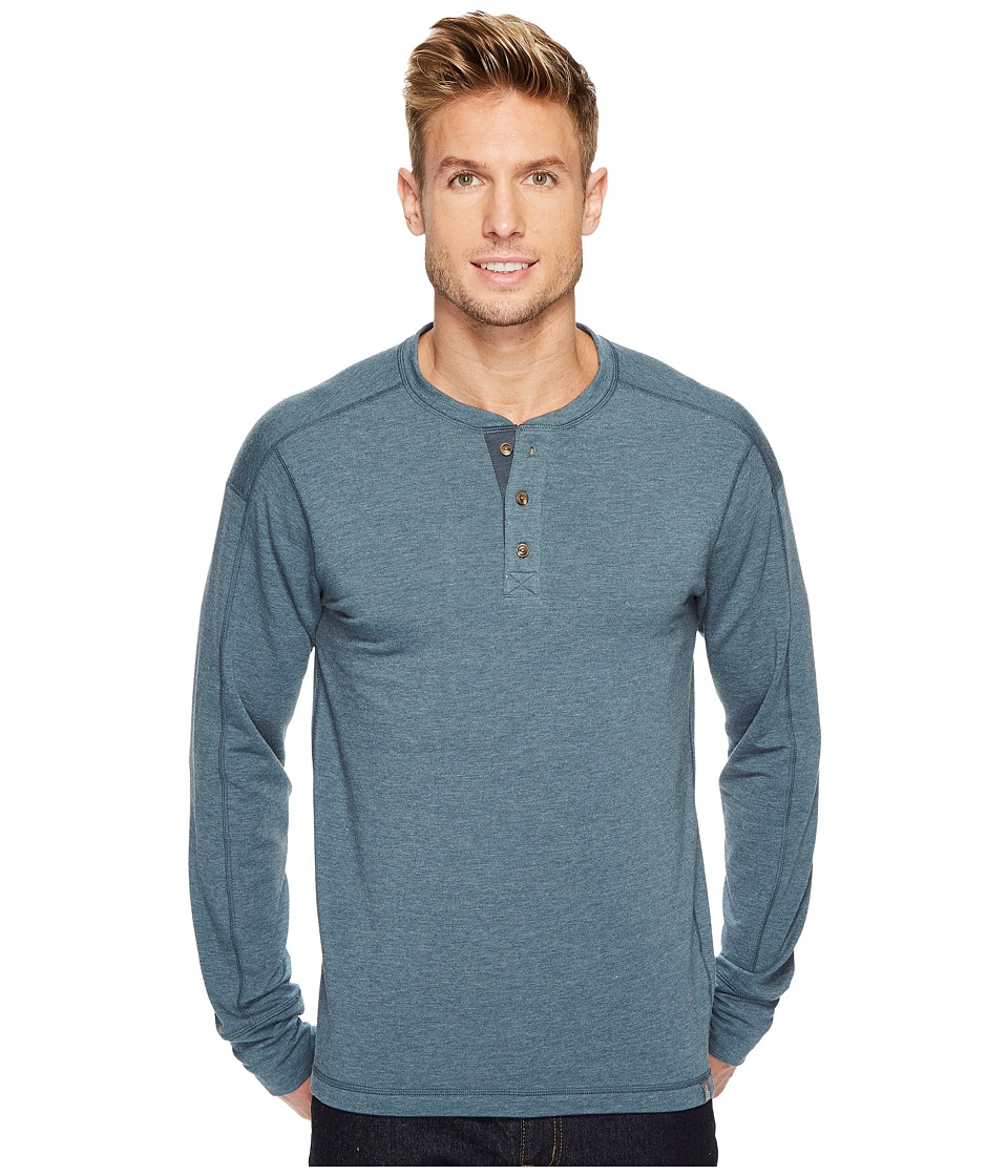 The North Face Long Sleeve Terry Henley (Conquer Blue) Men