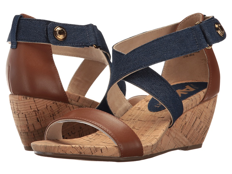 Anne Klein Crisscross (Medium Blue Multi Fabric (Denim/Cognac)) Women