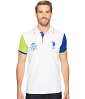 U.S. POLO ASSN. - Short Sleeve Color Blocked Slim Fit Pique Polo Shirt