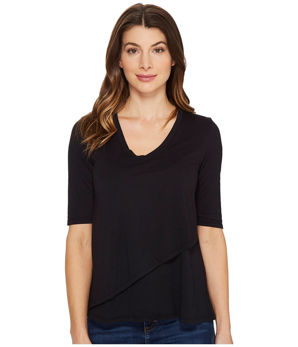 Mod-o-doc - Supreme Jersey Elbow Sleeve Tee with Angled Overlay (Black) Womens T Shirt