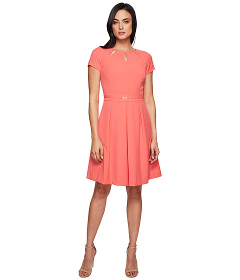 Ellen Tracy Fit and Flare Dress with Hardware and Cut Outs