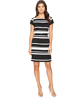 Ellen Tracy - Striped Pique Dress with Belt