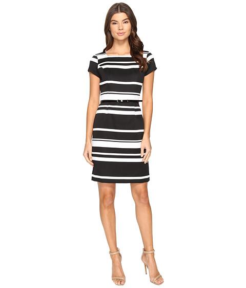 Ellen Tracy Striped Pique Dress with Belt