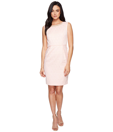 Ellen Tracy Jacquard Dress with Belt and Embellishment