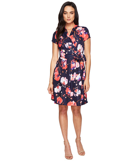 Ellen Tracy Floral Print Wrap Dress