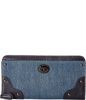 COACH - Denim Color Block Mercer Accordion Zip Wallet