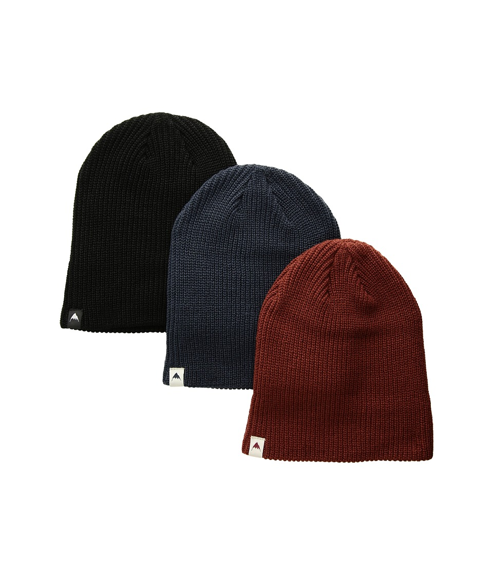 Burton - DND Beanie 3-Pack (Little Kids/Big Kids) (True Black/Mood Indigo/Fired Brick) Beanies